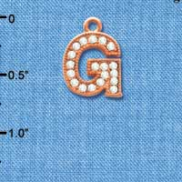 C5047 tlf - Crystal Rose Gold Letter - G - Beaded Border - Rose Gold Plated Charm (2 per package)