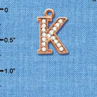 C5051 tlf - Crystal Rose Gold Letter - K - Beaded Border - Rose Gold Plated Charm (2 per package)