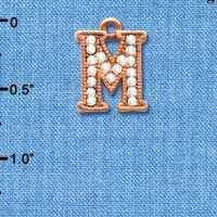 C5053 tlf - Crystal Rose Gold Letter - M - Beaded Border - Rose Gold Plated Charm (2 per package)