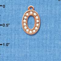 C5055 tlf - Crystal Rose Gold Letter - O - Beaded Border - Rose Gold Plated Charm (2 per package)