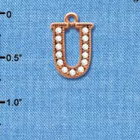 C5061 tlf - Crystal Rose Gold Letter - U - Beaded Border - Rose Gold Plated Charm (2 per package)