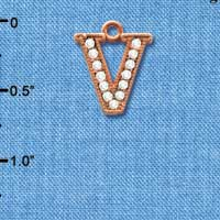 C5062 tlf - Crystal Rose Gold Letter - V - Beaded Border - Rose Gold Plated Charm (2 per package)