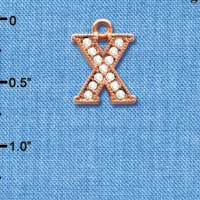 C5064 tlf - Crystal Rose Gold Letter - X - Beaded Border - Rose Gold Plated Charm (2 per package)