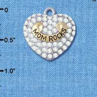 C5207 tlf - Gold 'Mom Rock' on Clear Crystal Heart - Im. Rhodium & Gold Plated Charm (2 per package)