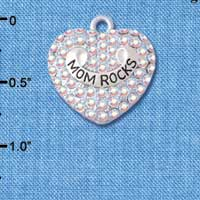C5208 tlf - Mom Rock' on AB Crystal Heart - Silver Plated Charm (2 per package)