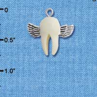 C5269+ tlf - White Tooth with Silver Wings - Tooth Fairy - Resin & Silver Plated Charm (6 per package)