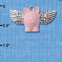 C5270+ tlf - Pink Flying Pig with Silver Wings - Resin & Silver Plated Charm (2 per package)