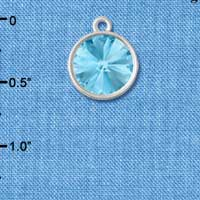 C5293+ tlf - 12mm Swarovski Crystal Rivoli - Aquamarine - Silver Plated Charm (2 per package)