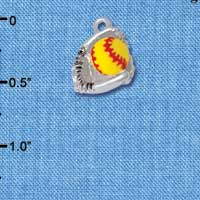 C5370+ tlf - Small Enamel Softball with Glove - Silver Plated Charm (2 per package)