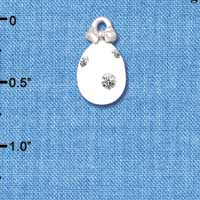 C5519+ tlf - White Easter Egg with Clear Crystal Dots - Silver Plated Charm (6 per package)