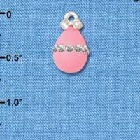 C5521+ tlf - Pink Easter Egg with Clear Crystal Band - Silver Plated Charm (2 per package)