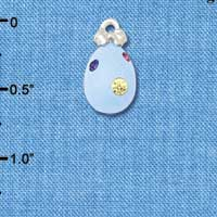 C5524+ tlf - Light Blue Easter Egg with Multicolored Crystal Dots - Silver Plated Charm (6 per package)