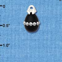 C5529+ tlf - Black Easter Egg with Clear Crystal Band - Silver Plated Charm (2 per package)