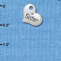 C5568 tlf - Small ''Sister'' Heart with Clear Crystal - Silver Plated Charm (6 per package)