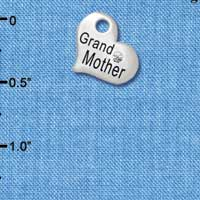 C5574 tlf - Small ''Grandmother'' Heart with Clear Crystal - Silver Plated Charm (6 per package)
