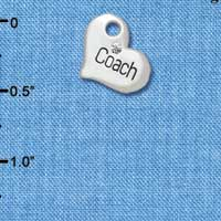C5575 tlf - Small ''Coach'' Heart with Clear Crystal - Silver Plated Charm (6 per package)