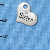 C5577 tlf - Large ''Sister'' Heart with Clear Crystal - Silver Plated Charm (6 per package)