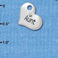 C5578 tlf - Large ''Aunt'' Heart with Clear Crystal - Silver Plated Charm (6 per package)