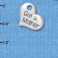 C5581 tlf - Large ''Godmother'' Heart with Clear Crystal  - Silver Plated Charm (6 per package)