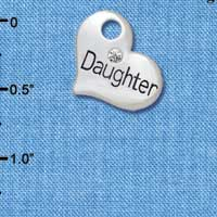 C5582 tlf - Large ''Daughter'' Heart with Clear Crystal - Silver Plated Charm (6 per package)