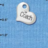 C5584 tlf - Large ''Coach'' Heart with Clear Crystal - Silver Plated Charm (6 per package)