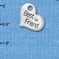 C5585 tlf - Large ''Best Friend'' Heart with Clear Crystal - Silver Plated Charm (6 per package)