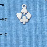 C5716 tlf - Silver Card Suits - Silver Plated Charm (6 per package)