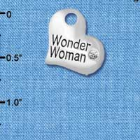 C5717 tlf - Large Wonder Woman Heart - Silver Plated Charm (6 per package)