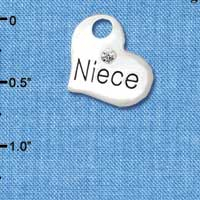 C5720 tlf - Large Niece Heart - Silver Plated Charm (6 per package)