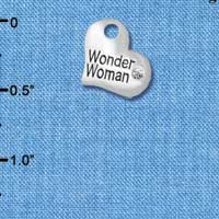 C5722 tlf - Small Wonder Woman Heart - Silver Plated Charm (6 per package)
