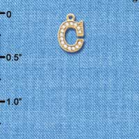 C5767 tlf - Small Crystal Initial - C - Beaded Border - Gold Plated Charm (2 per package)