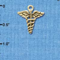 C5823 tlf - Caduceus - Gold Plated Charm (6 per package)