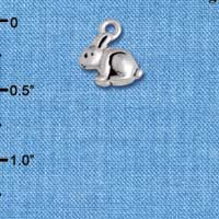 C5832+ tlf - Mini Bunny - 3-D - Silver Plated Charm (6 per package)