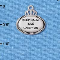 C5923+ tlf - Keep Calm and Carry On - Silver Plated Charm (2 per package)