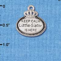C5926+ tlf - Keep Calm Little Sister is Here - Silver Plated Charm (2 per package)