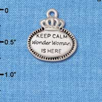C5928+ tlf - Keep Calm Wonder Woman is Here - Silver Plated Charm (2 per package)