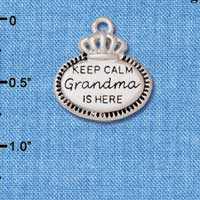 C5929+ tlf - Keep Calm Grandma is Here - Silver Plated Charm (2 per package)