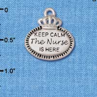 C5930+ tlf - Keep Calm The Nurse is Here - Silver Plated Charm (2 per package)