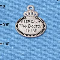 C5931+ tlf - Keep Calm The Doctor is Here - Silver Plated Charm (2 per package)
