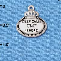 C5932+ tlf - Keep Calm EMT is Here - Silver Plated Charm (2 per package)