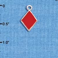 C5953+ tlf - Card Suit - Red Diamond - Silver Plated Charm (6 per package)