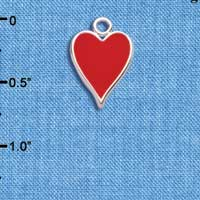 C5954+ tlf - Card Suit - Red Heart - Silver Plated Charm (6 per package)