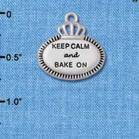 C5960+ tlf - Keep Calm and Bake On - Silver Plated Charm (2 per package)