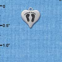 C5967+ tlf - Small Baby Feet in Heart - Silver Plated Charm (2 per package)
