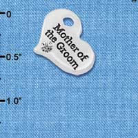C5991 tlf - Large Mother of the Groom Heart - Silver Plated Charm (6 per package)