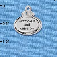 C5994+ tlf - Keep Calm and Chive On - Silver Plated Charm (2 per package)