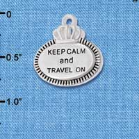 C5995+ tlf - Keep Calm and Travel On - Silver Plated Charm (2 per package)