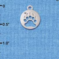 C6089+ tlf - Bear Paw Cutout Disc - Silver Plated Charm (6 per package)