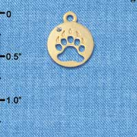 C6090+ tlf - Bear Paw Cutout Disc - Gold Plated Charm (6 per package)