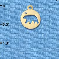 C6092+ tlf - Bear Cutout Disc - Gold Plated Charm (2 per package)